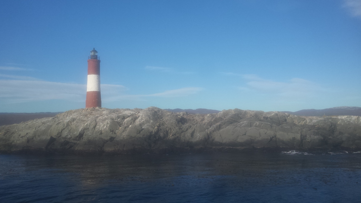 The lighthouse protecting the port of Ushuaia