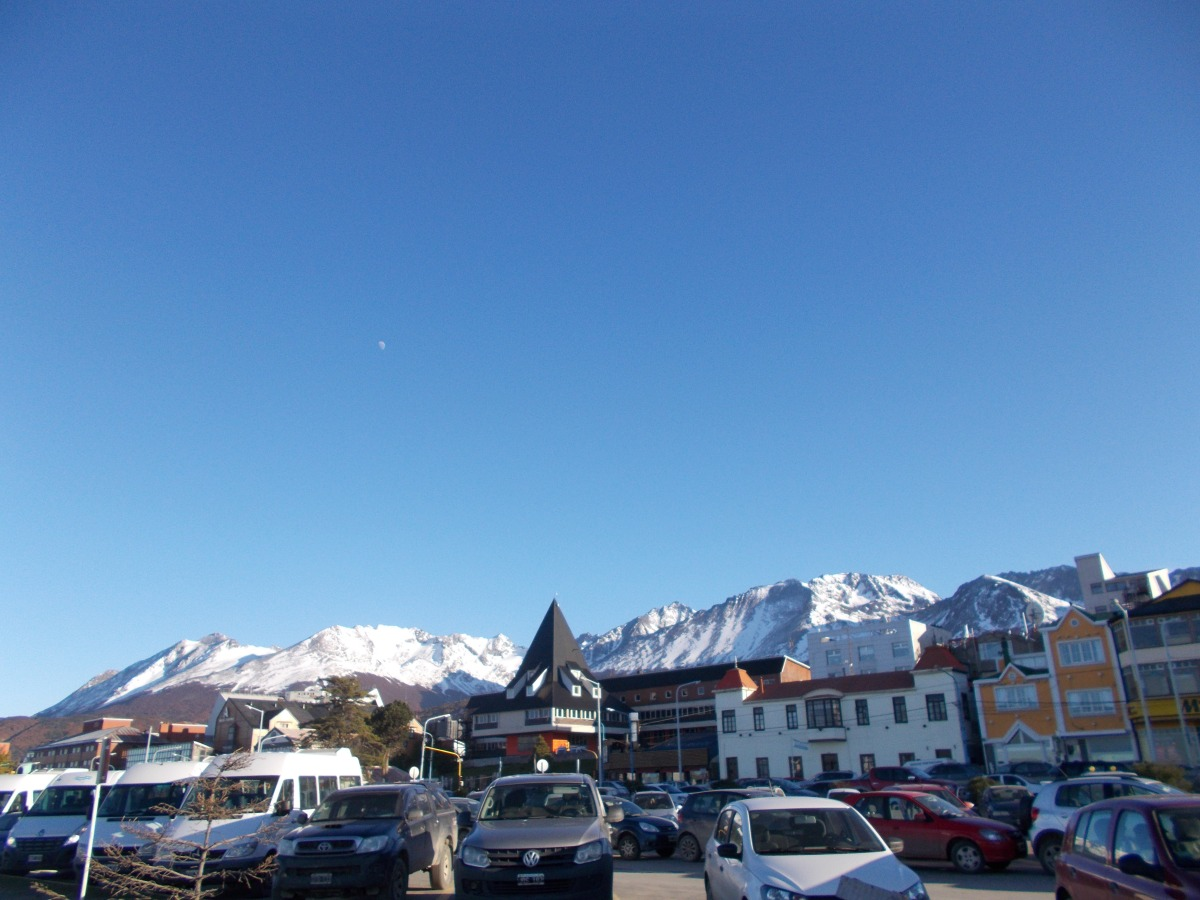 Looking back at the town of Ushuaia and the surrounding mountains