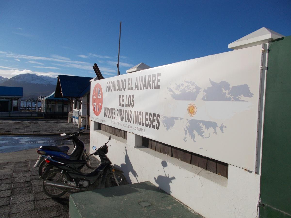 Sign at the port of Ushuaia banning British ships